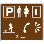 Advance sign for facilities in lay-by