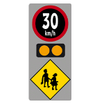 Electronic periodic speed limit sign at school