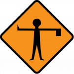 Flagman ahead