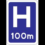 Hospital ahead sign