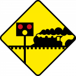 Level crossing ahead, guarded by gates or lifting barriers