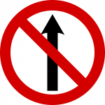 No entry or 'No straight ahead'