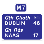 Route confirmatory sign for M7