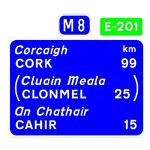 Route confirmatory sign with Euro Route marker plate